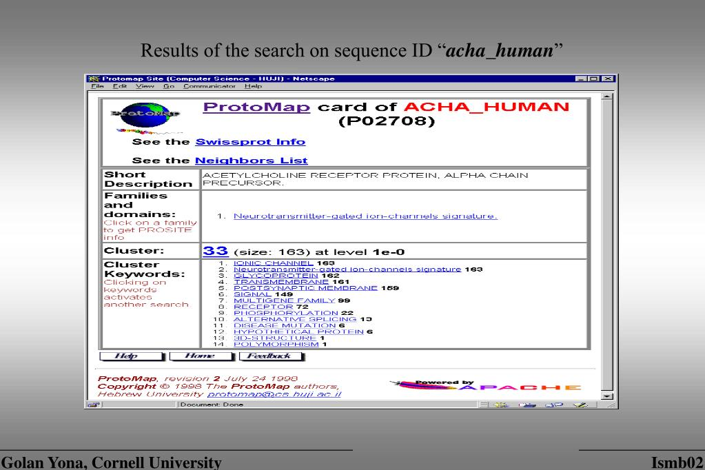 """Results of the search on sequence ID """""""