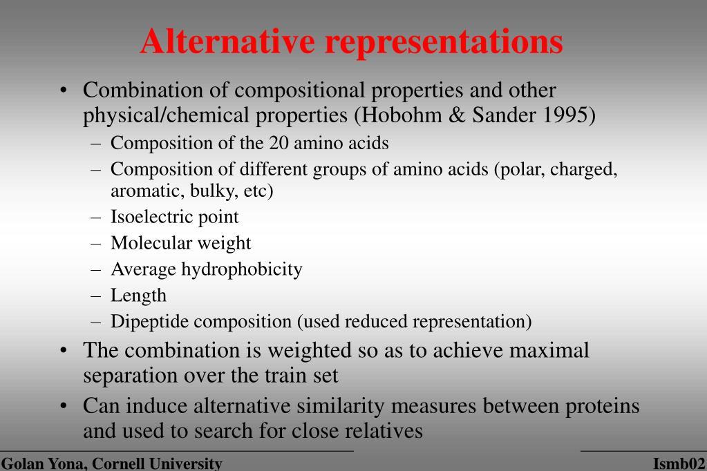 Alternative representations