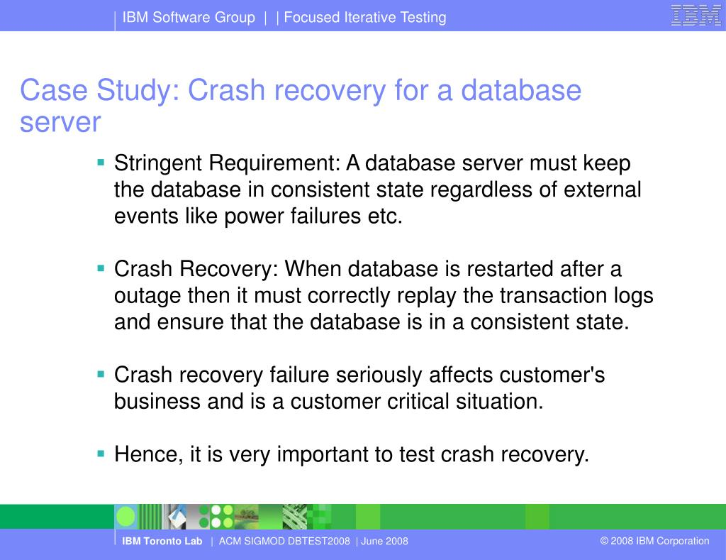 Case Study: Crash recovery for a database server