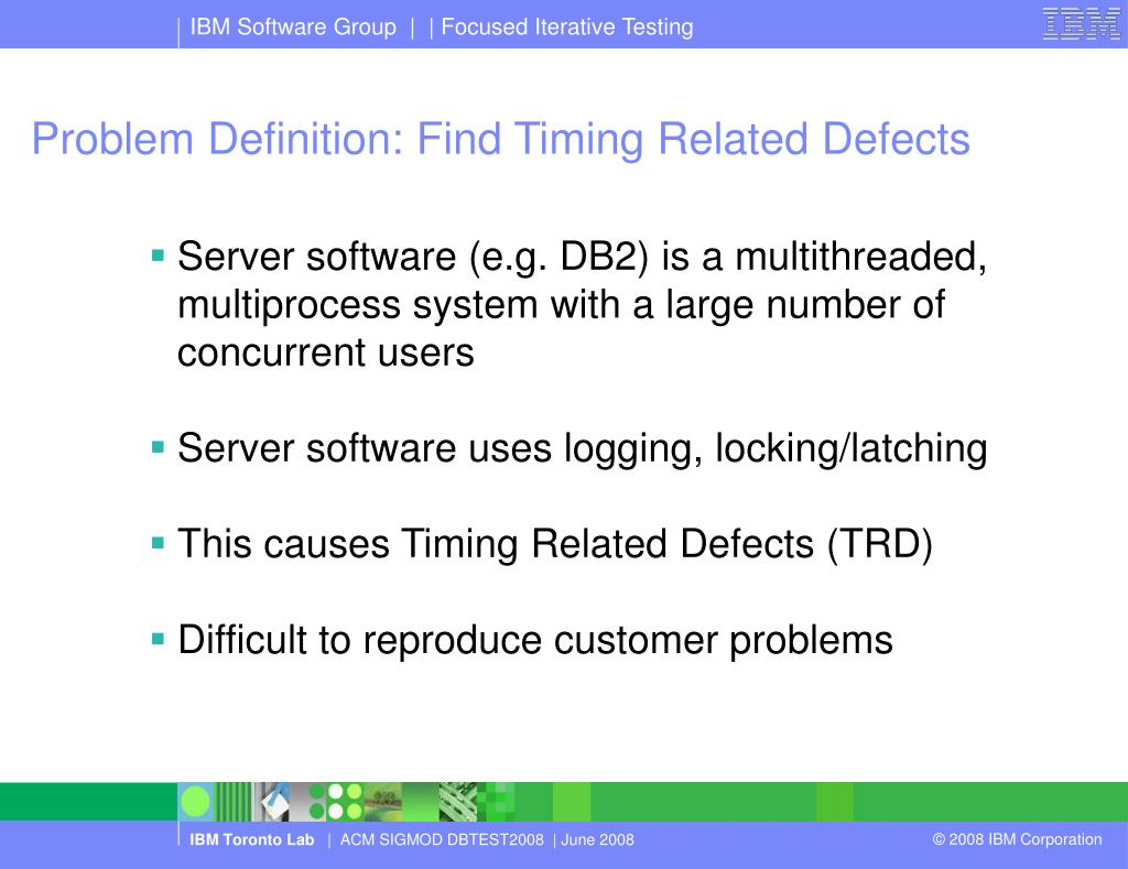 Problem Definition: Find Timing Related Defects