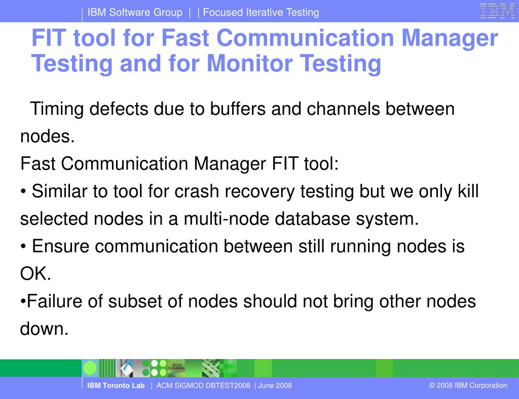 FIT tool for Fast Communication Manager Testing and for Monitor Testing