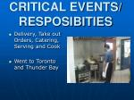 critical events resposibities