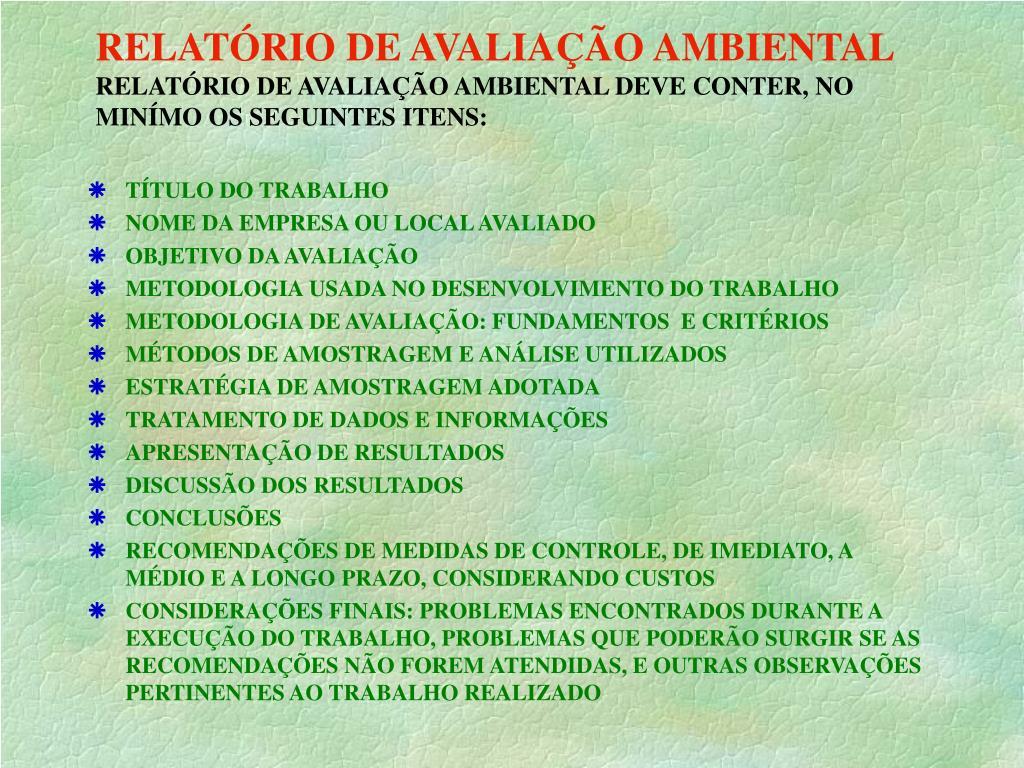 RELATÓRIO DE AVALIAÇÃO AMBIENTAL