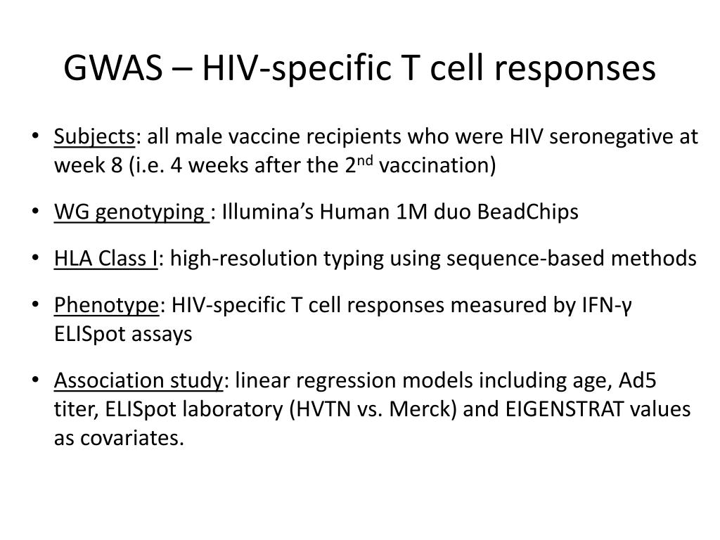 GWAS – HIV-specific T cell responses