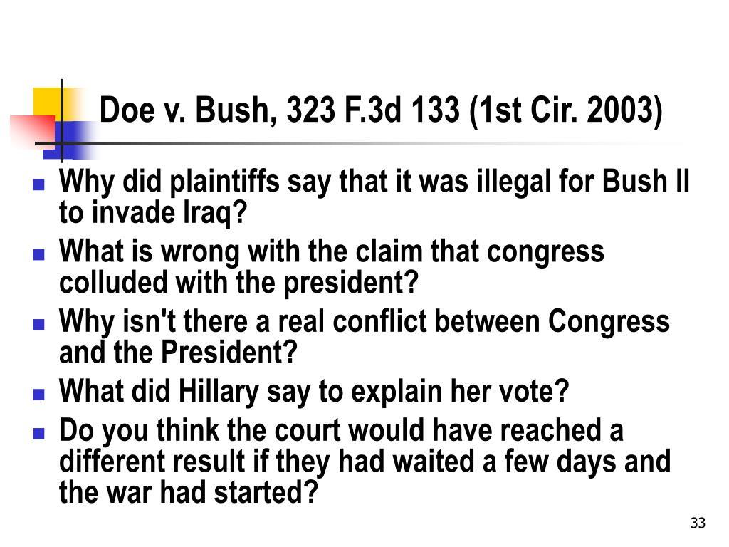 Doe v. Bush, 323 F.3d 133 (1st Cir. 2003)