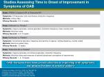 studies assessing time to onset of improvement in symptoms of oab