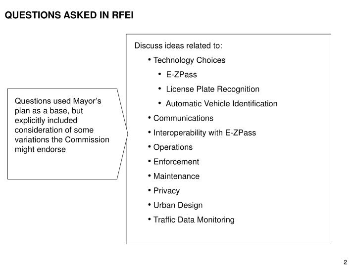 Questions asked in rfei