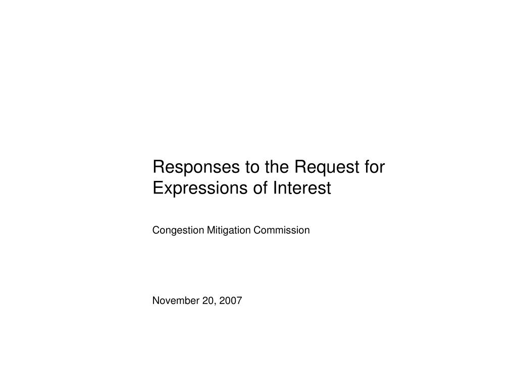 Responses to the Request for Expressions of Interest