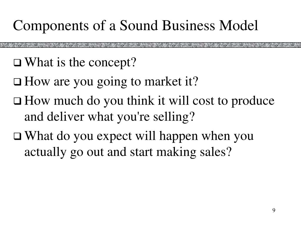 Components of a Sound Business Model