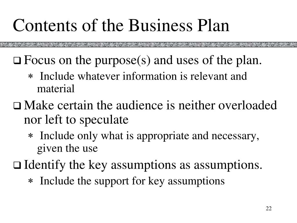 Contents of the Business Plan
