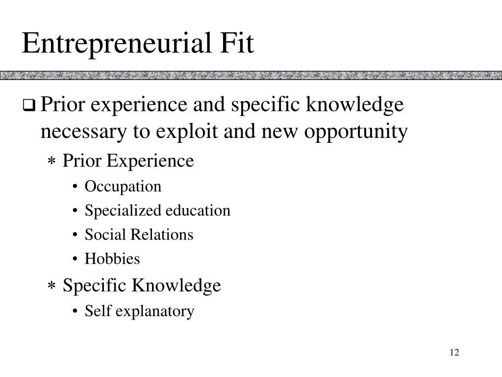 Entrepreneurial Fit