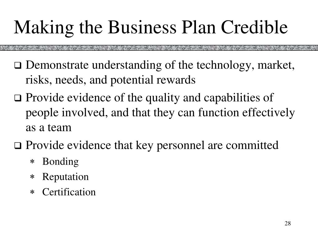 Making the Business Plan Credible