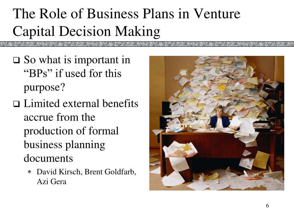 The Role of Business Plans in Venture Capital Decision Making