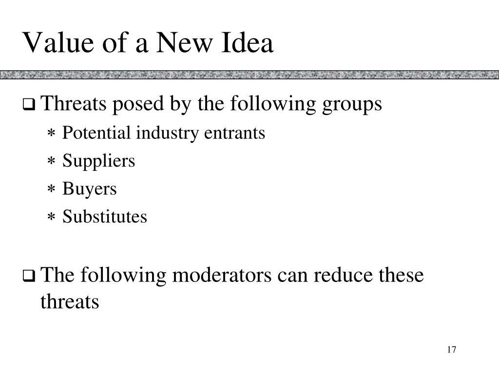 Value of a New Idea