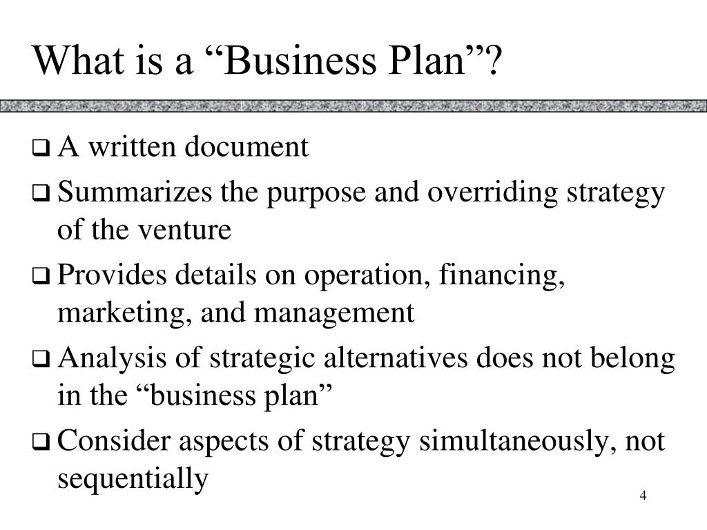"""What is a """"Business Plan""""?"""