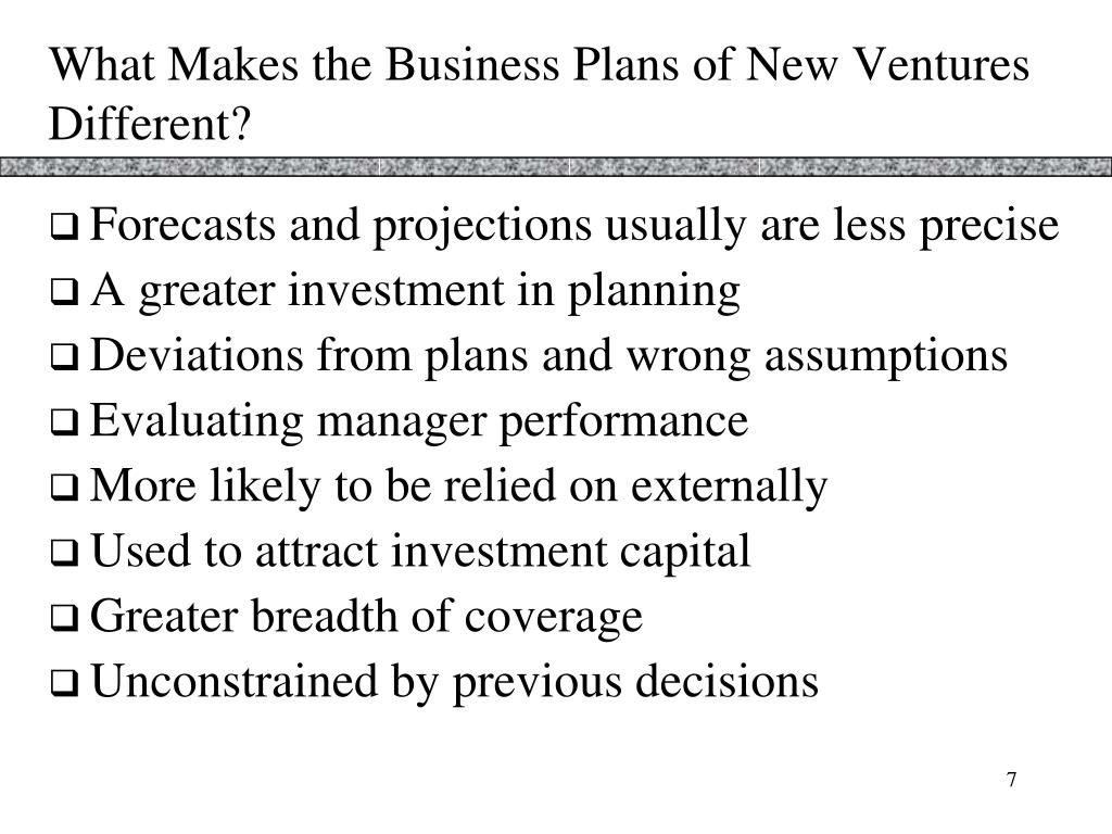 What Makes the Business Plans of New Ventures Different?