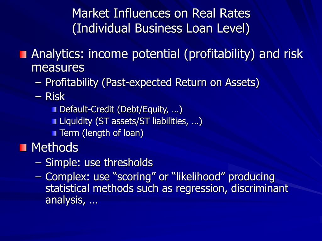 Market Influences on Real Rates