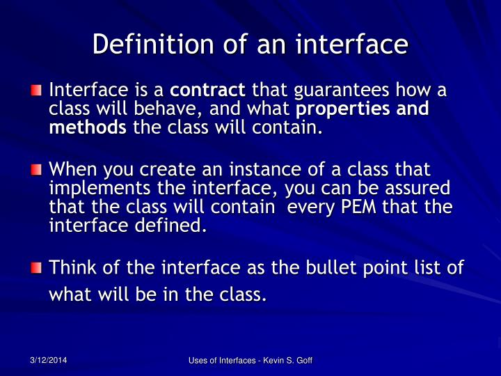 Definition of an interface