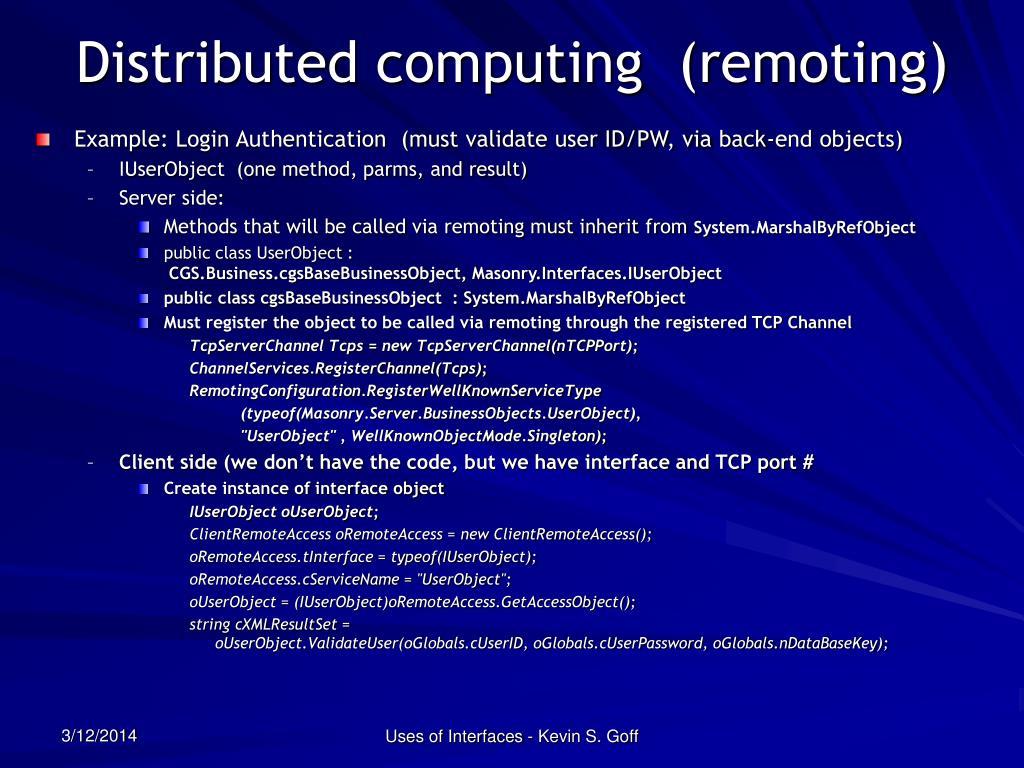 Distributed computing  (remoting)