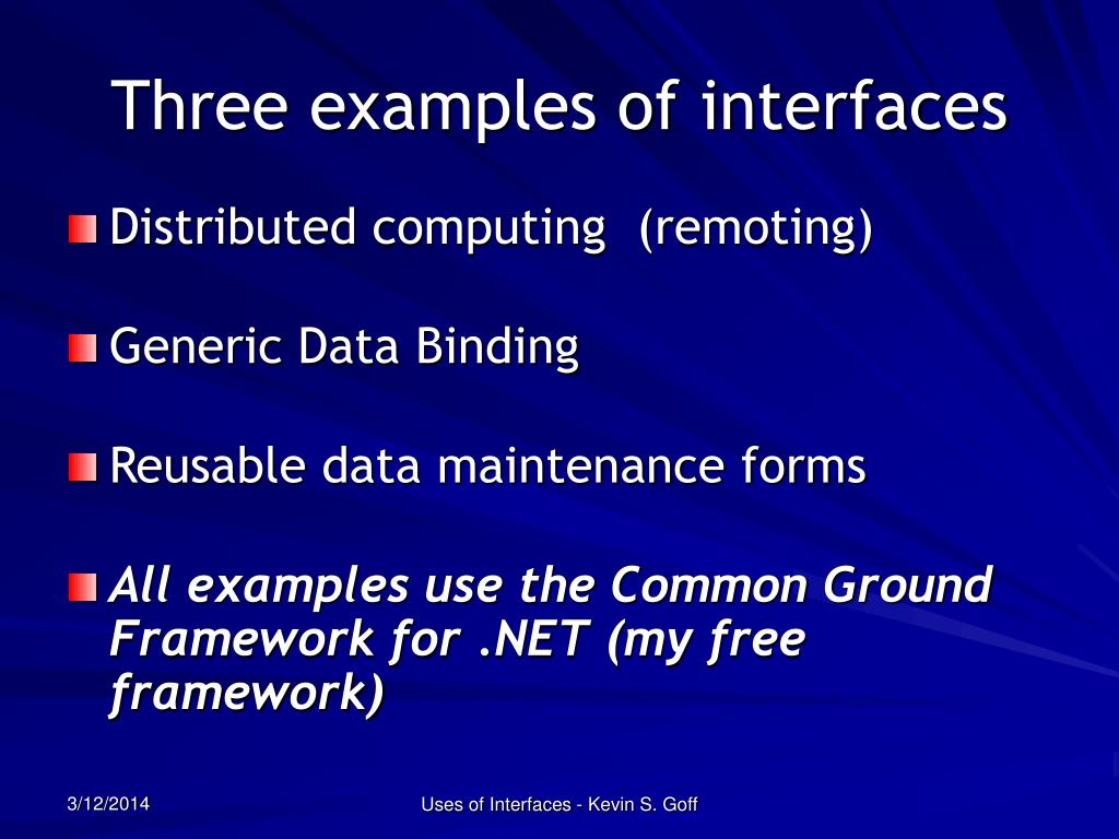 Three examples of interfaces