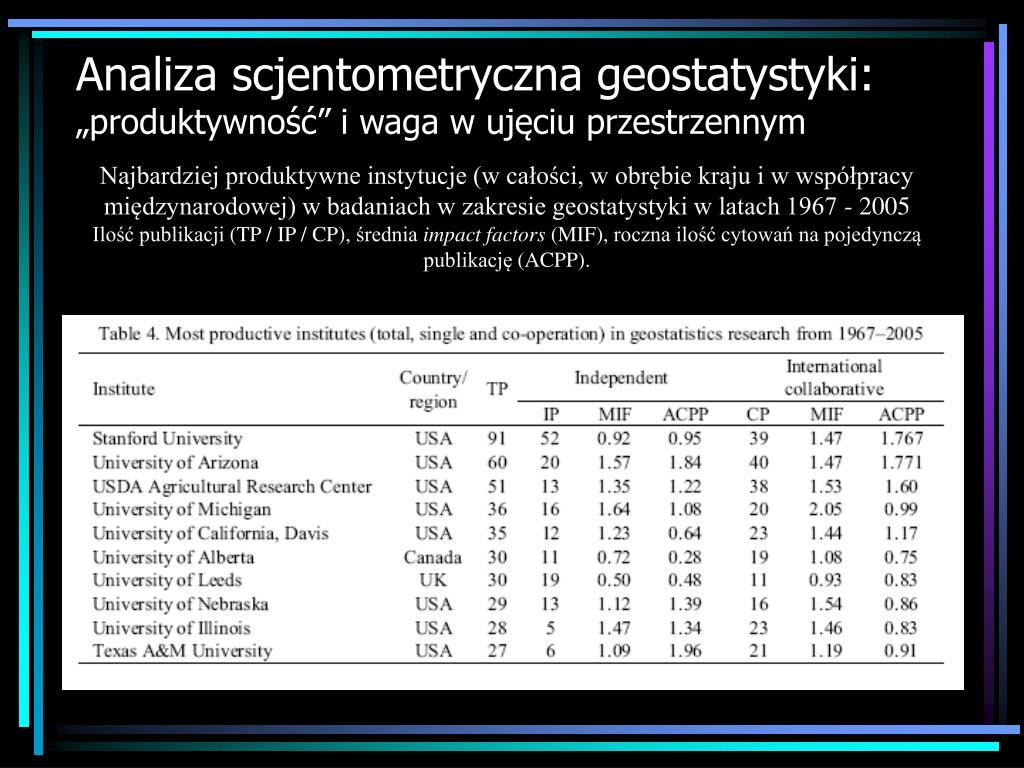 Analiza scjentometryczna geostatystyki: