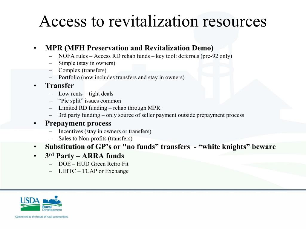 Access to revitalization resources