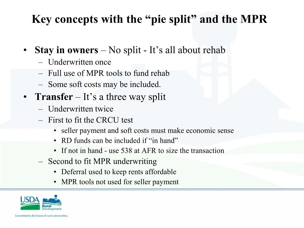 "Key concepts with the ""pie split"" and the MPR"