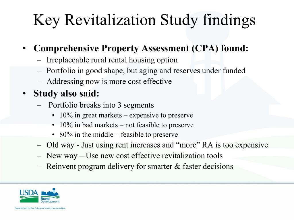 Key Revitalization Study findings