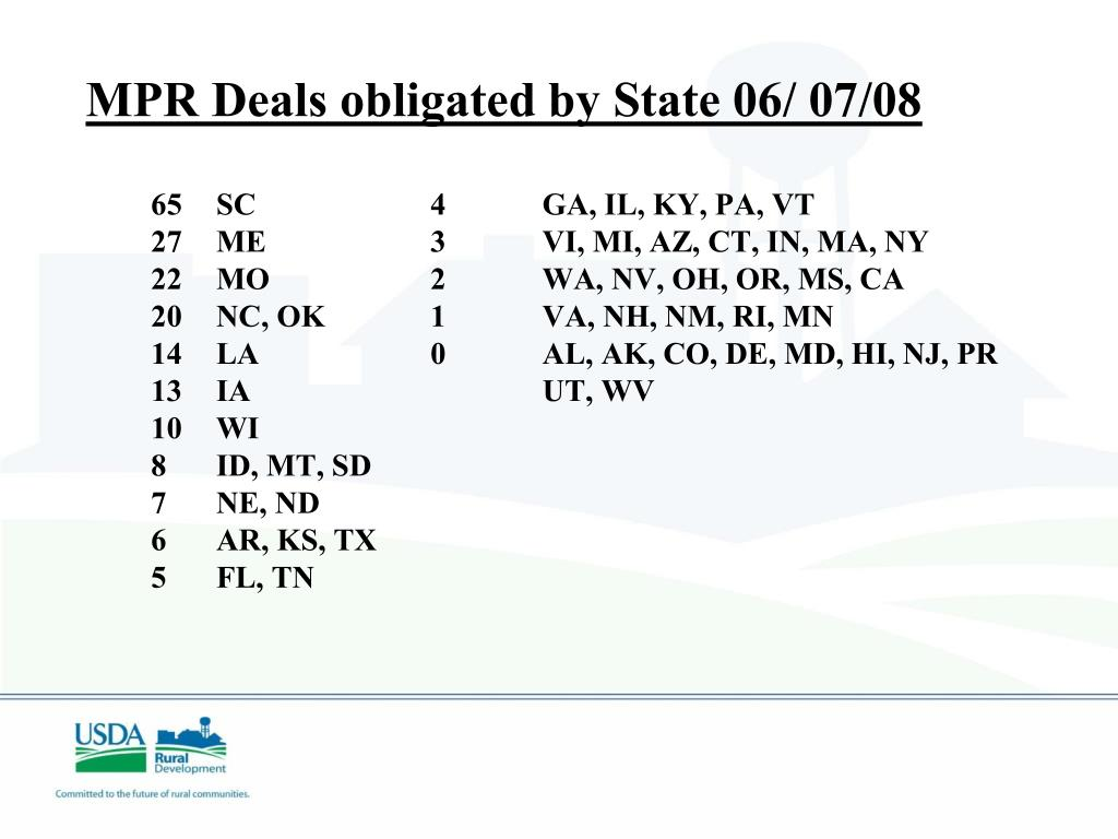 MPR Deals obligated by State 06/ 07/08