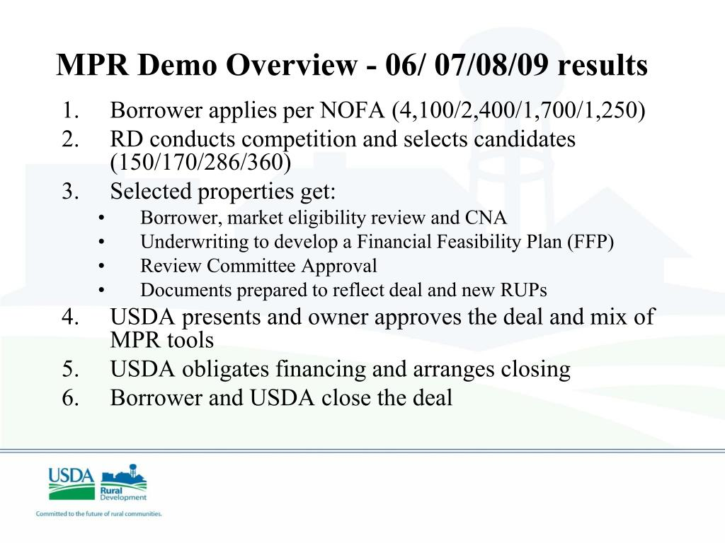 MPR Demo Overview - 06/ 07/08/09 results