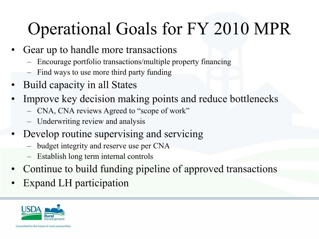 Operational Goals for FY 2010 MPR