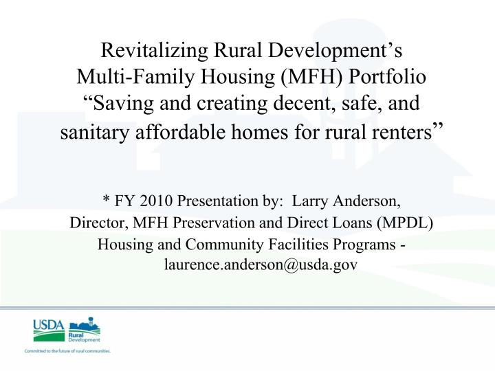 Revitalizing Rural Development's