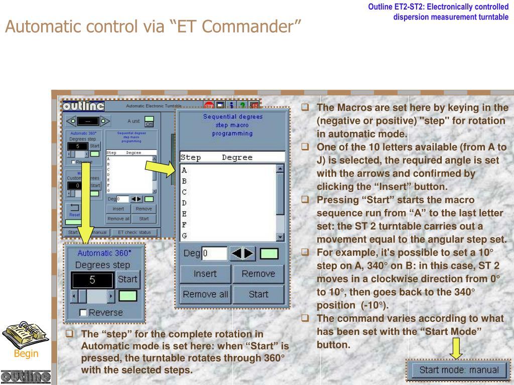 """Automatic control via """"ET Commander"""""""