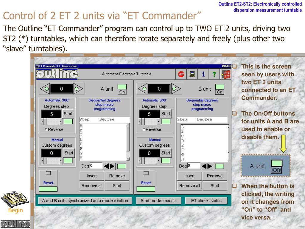 """Control of 2 ET 2 units via """"ET Commander"""""""