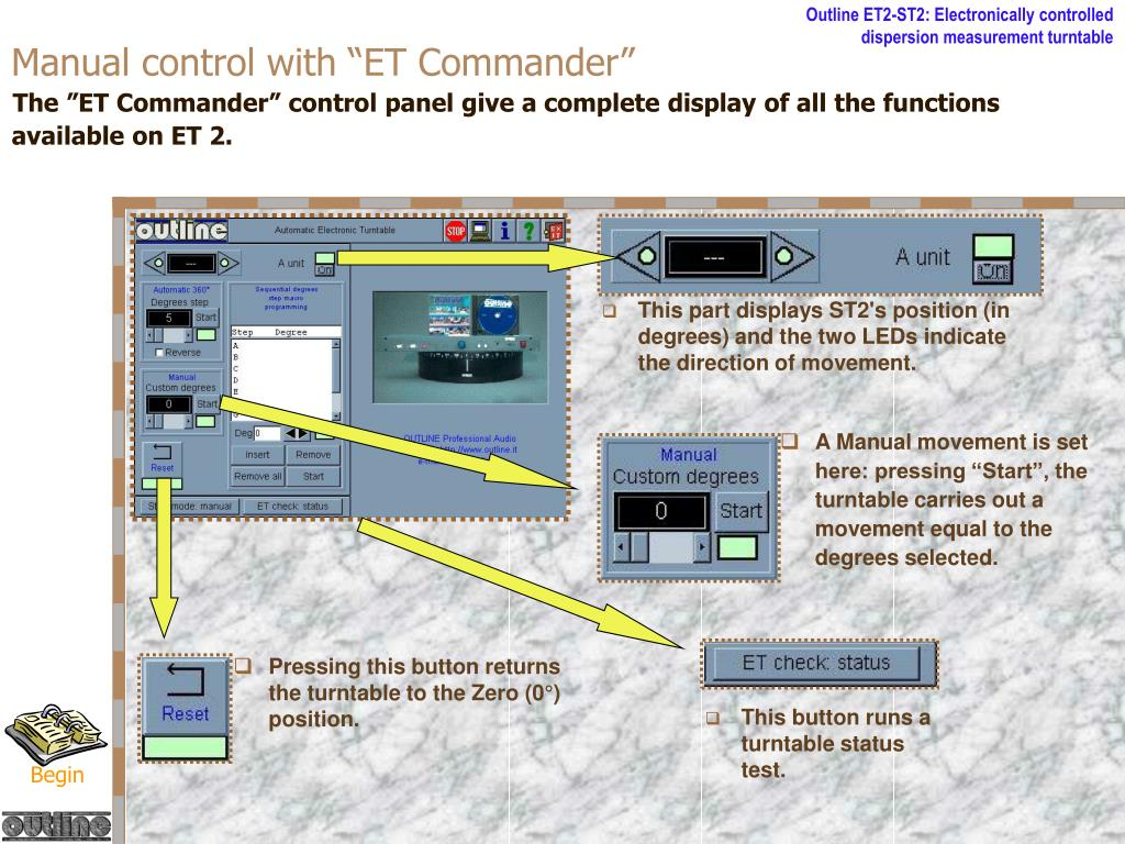 """Manual control with """"ET Commander"""""""