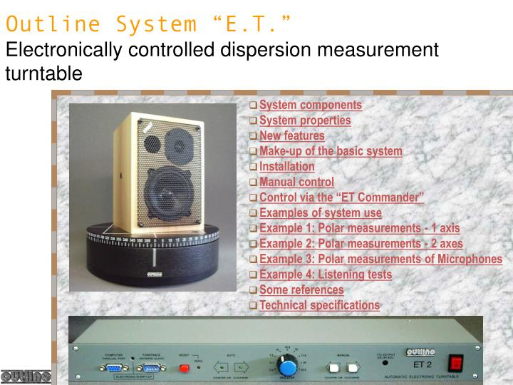 Outline system e t electronically controlled dispersion measurement turntable