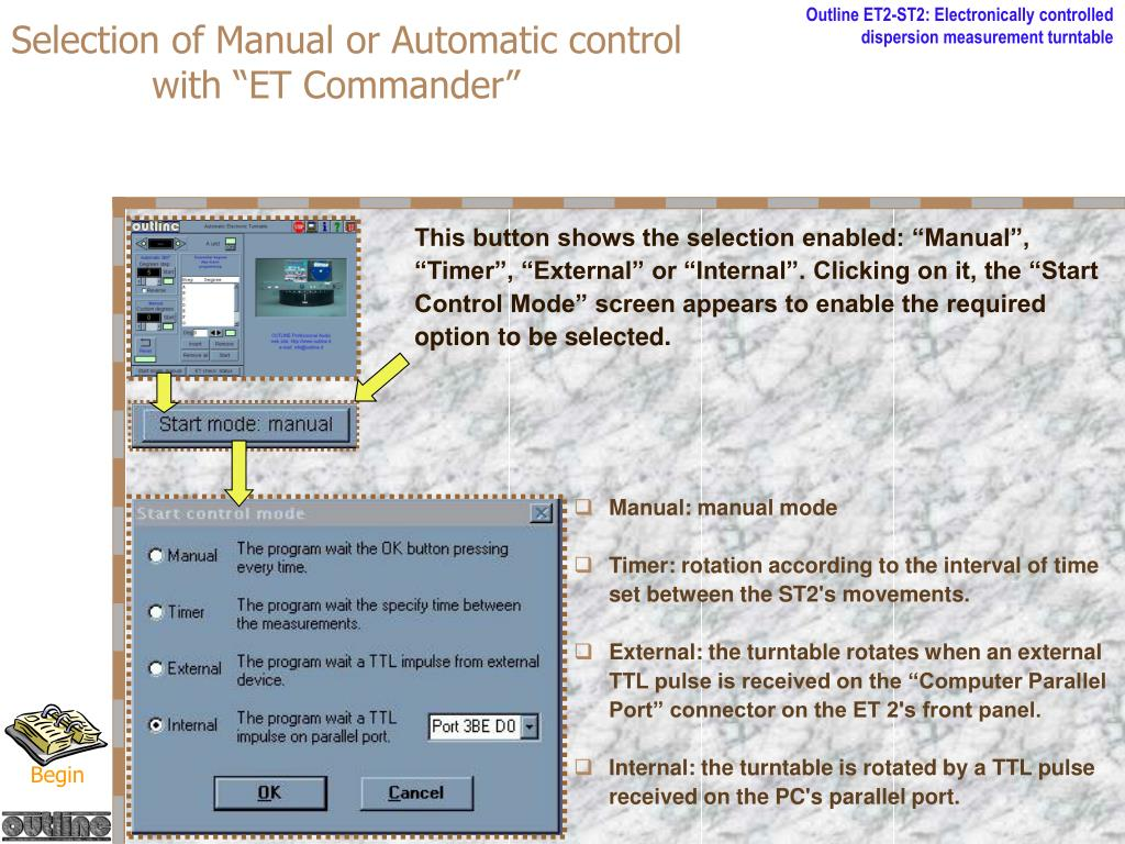 Selection of Manual or Automatic control