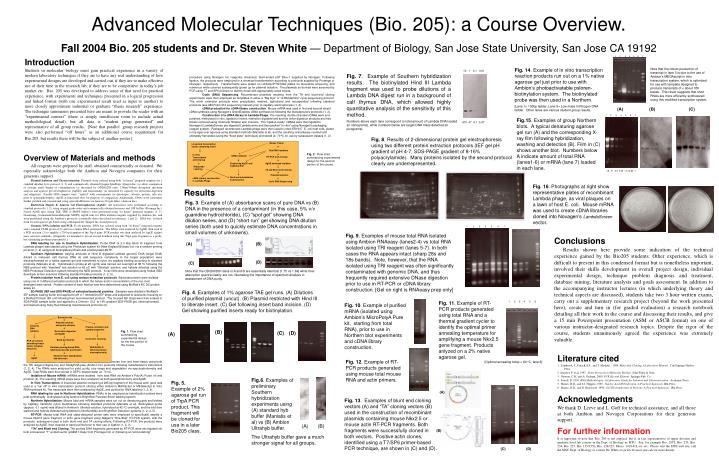 Advanced Molecular Techniques (Bio. 205): a Course Overview.