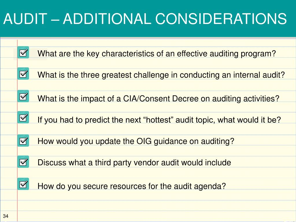 AUDIT – ADDITIONAL CONSIDERATIONS