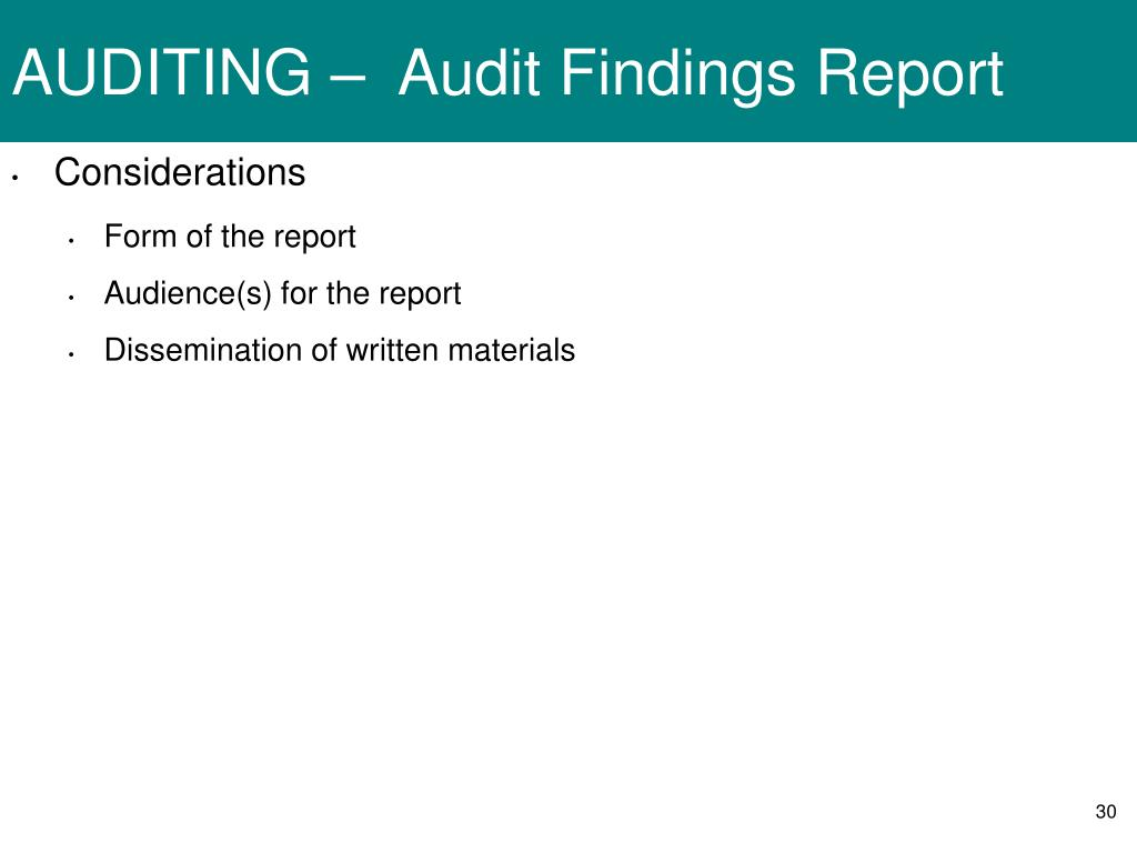 AUDITING –  Audit Findings Report