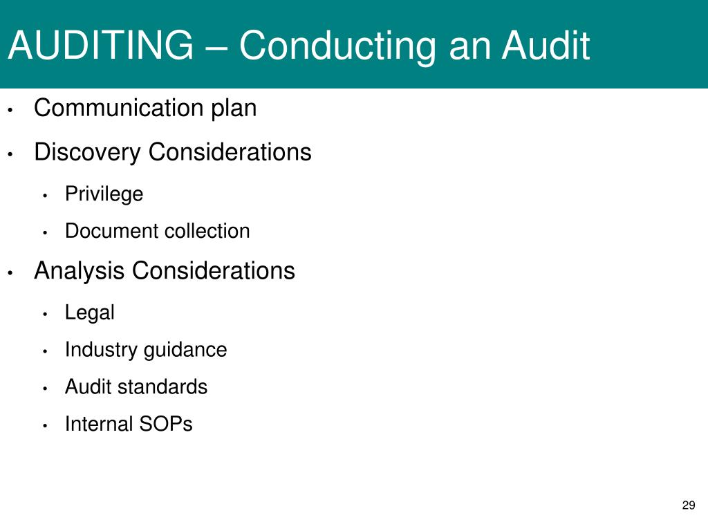 AUDITING – Conducting an Audit