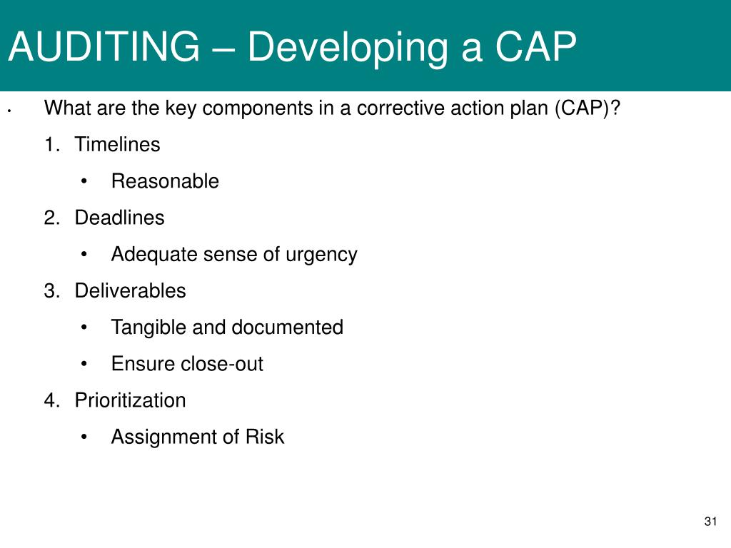 AUDITING – Developing a CAP