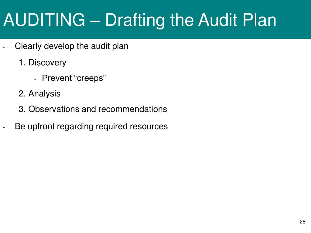 AUDITING – Drafting the Audit Plan