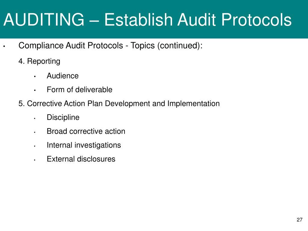 AUDITING – Establish Audit Protocols