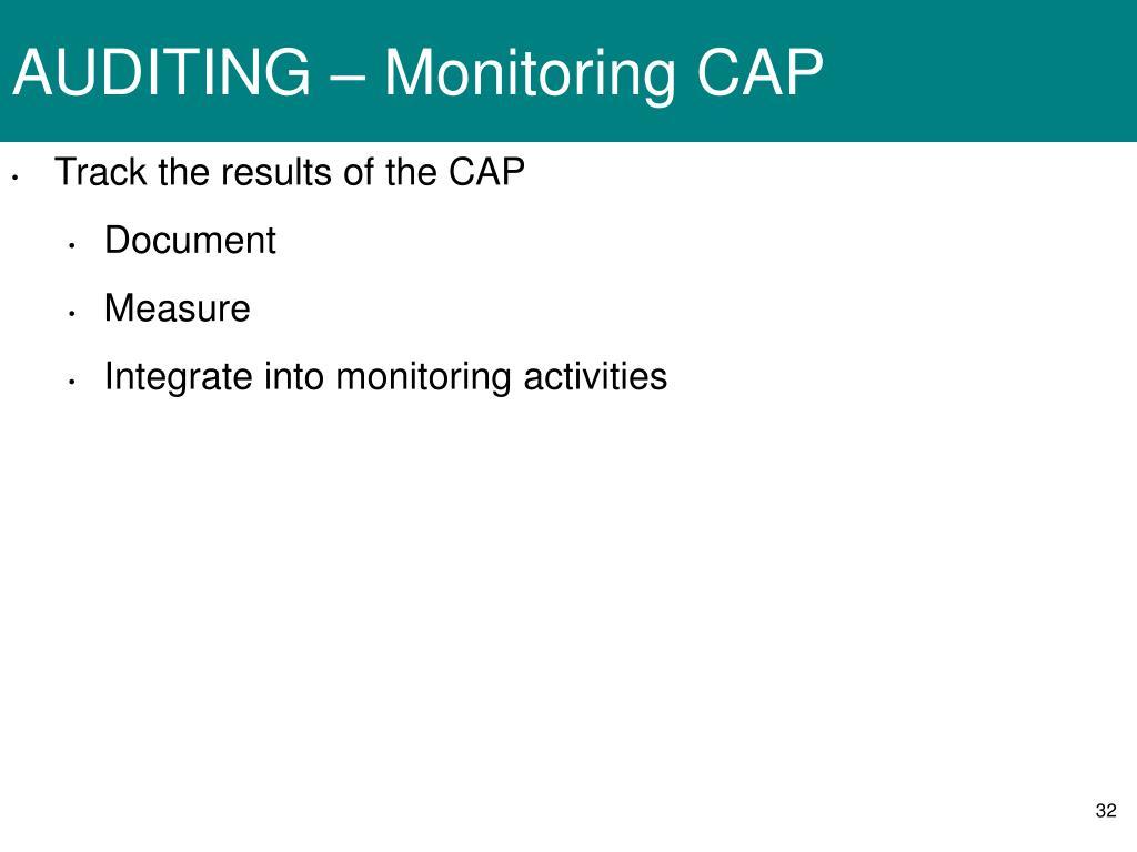 AUDITING – Monitoring CAP