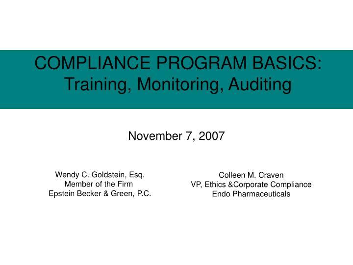 Compliance program basics training monitoring auditing