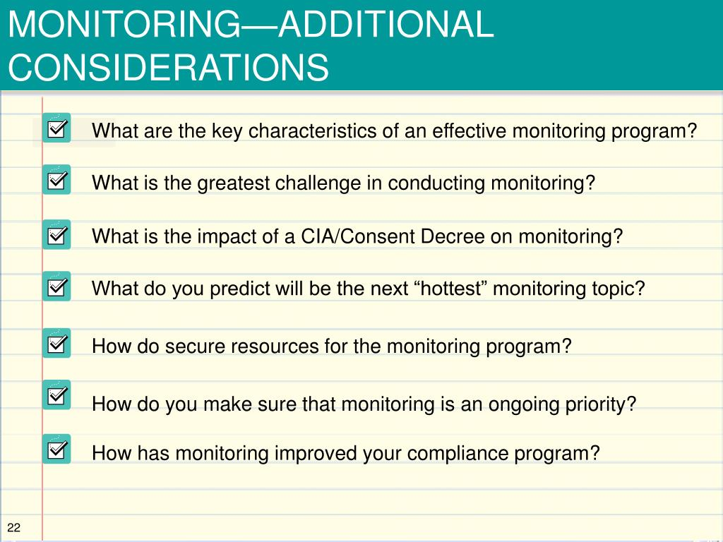 MONITORING—ADDITIONAL CONSIDERATIONS