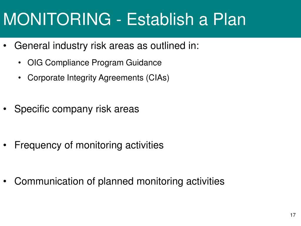 MONITORING - Establish a Plan