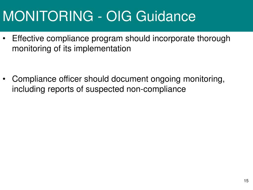 MONITORING - OIG Guidance