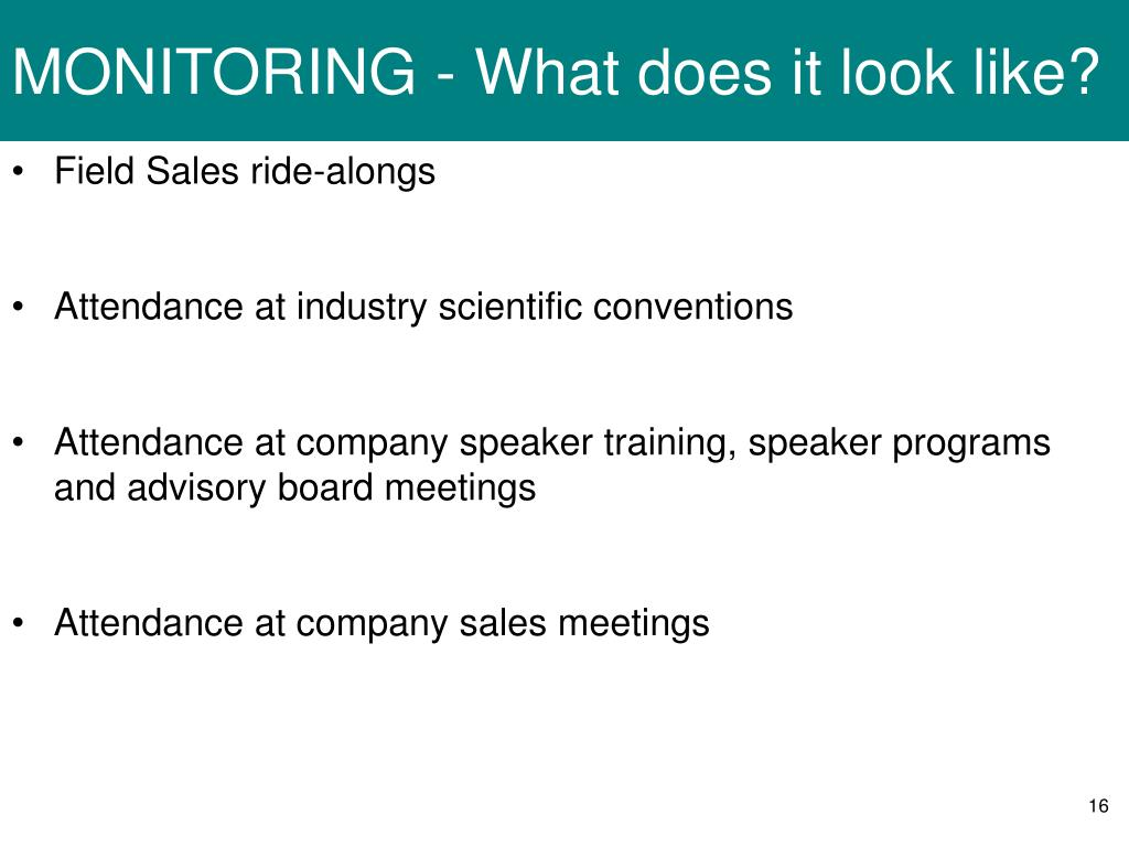 MONITORING - What does it look like?